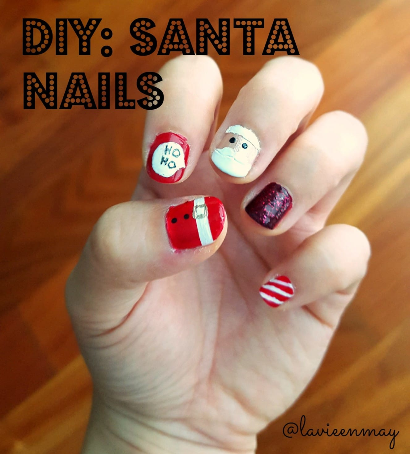 DIY Santa Nail Art Tutorial from La Vie en May on Katie Crafts; https://www.katiecrafts.com