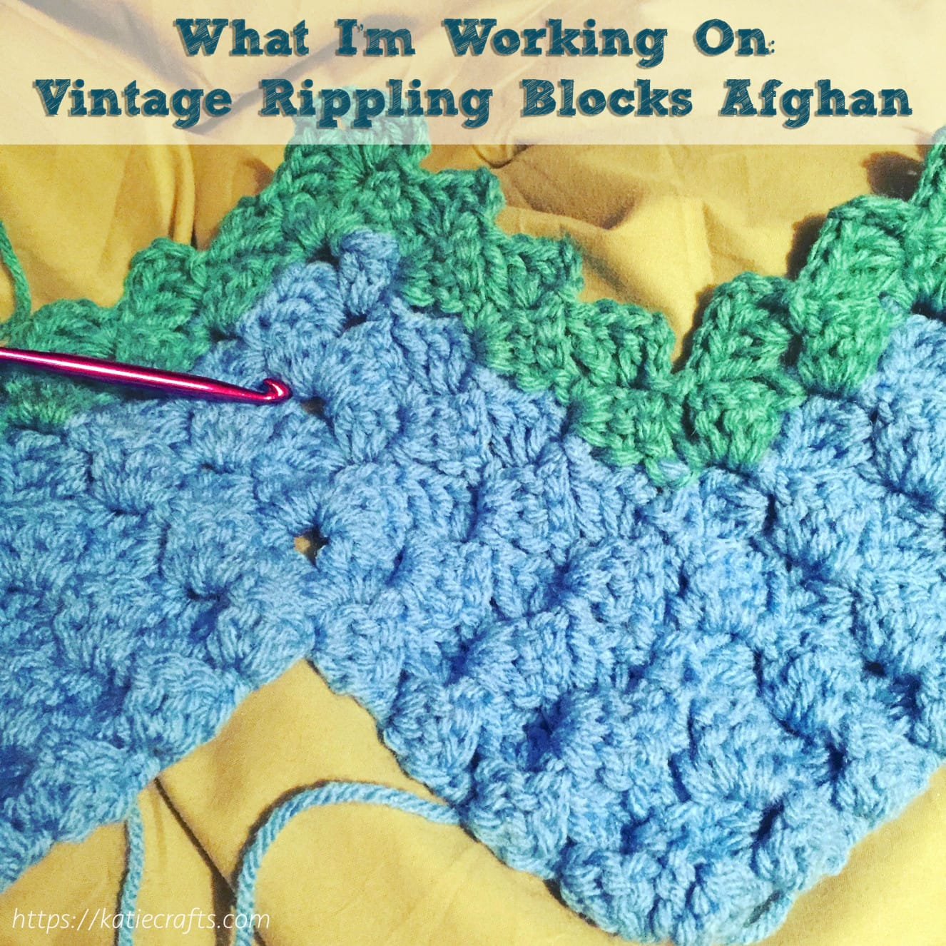 Vintage Rippling Blocks Afghan on Katie Crafts; https://www.katiecrafts.com
